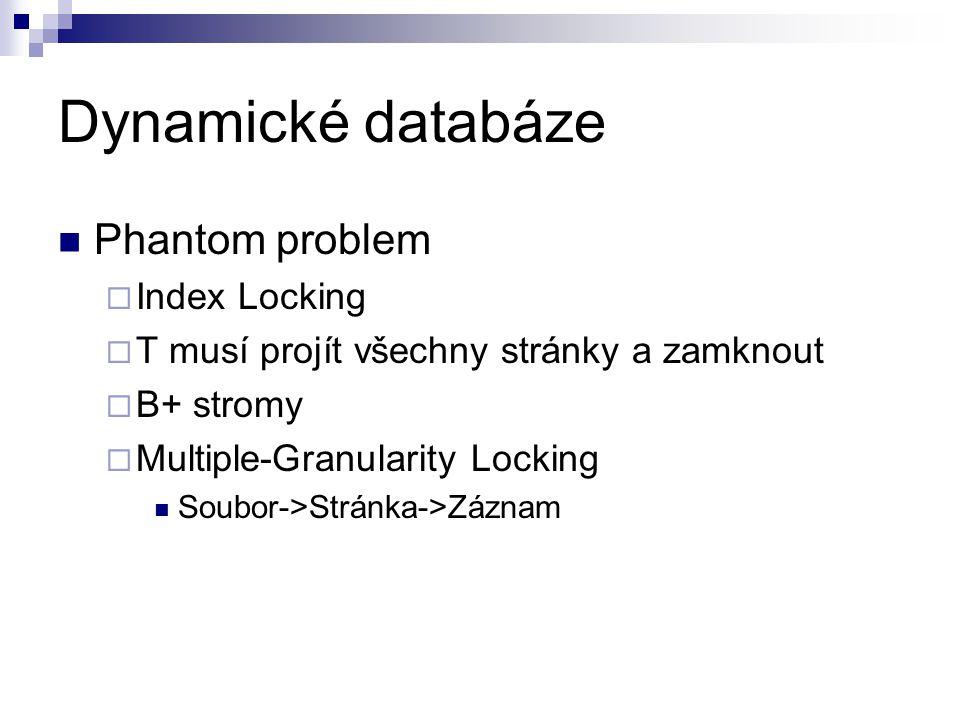 Dynamické databáze Phantom problem  Index Locking  T musí projít všechny stránky a zamknout  B+ stromy  Multiple-Granularity Locking Soubor->Stránka->Záznam