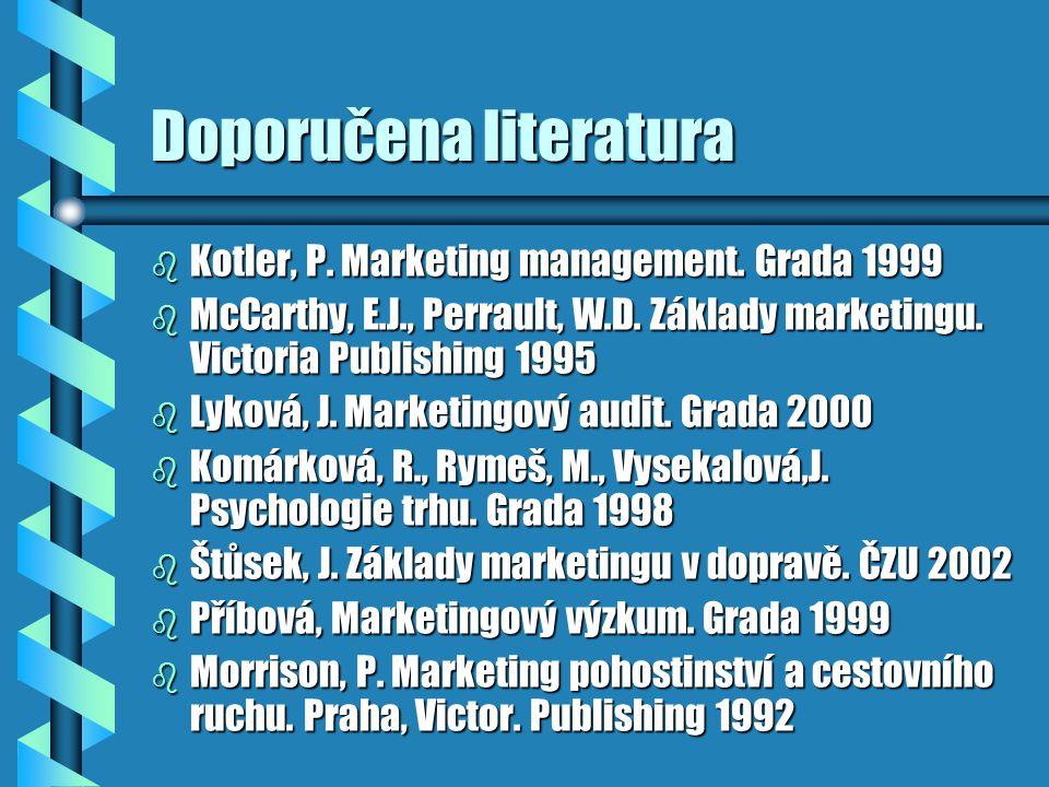 Doporučena literatura b Kotler, P. Marketing management. Grada 1999 b McCarthy, E.J., Perrault, W.D. Základy marketingu. Victoria Publishing 1995 b Ly