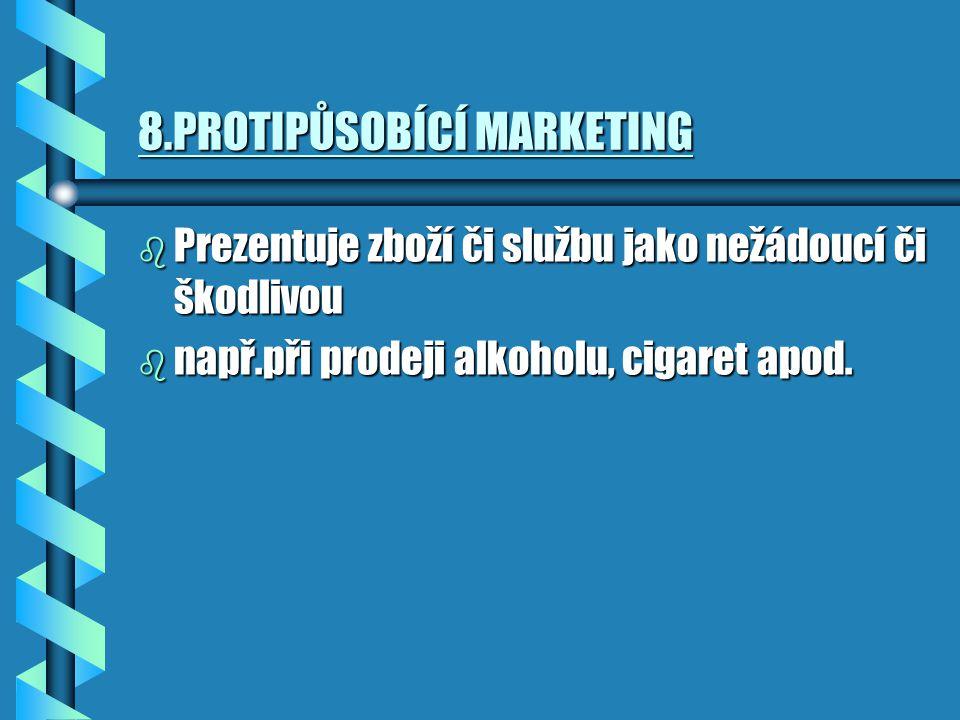 8.PROTIPŮSOBÍCÍ MARKETING b Prezentuje zboží či službu jako nežádoucí či škodlivou b např.při prodeji alkoholu, cigaret apod.