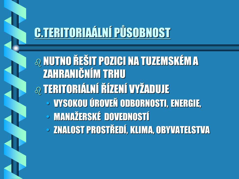 C.TERITORIAÁLNÍ PŮSOBNOST b NUTNO ŘEŠIT POZICI NA TUZEMSKÉM A ZAHRANIČNÍM TRHU b TERITORIÁLNÍ ŘÍZENÍ VYŽADUJE VYSOKOU ÚROVEŇ ODBORNOSTI, ENERGIE,VYSOK
