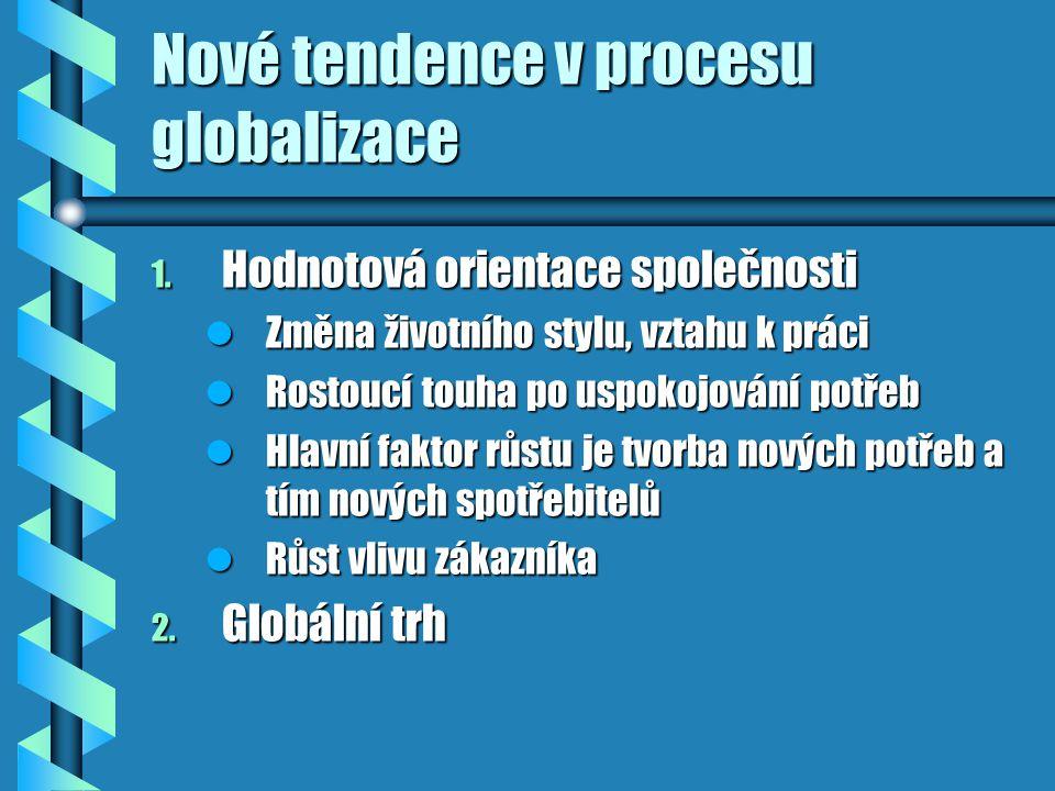 Nové tendence v procesu globalizace 1. Hodnotová orientace společnosti Změna životního stylu, vztahu k práci Změna životního stylu, vztahu k práci Ros