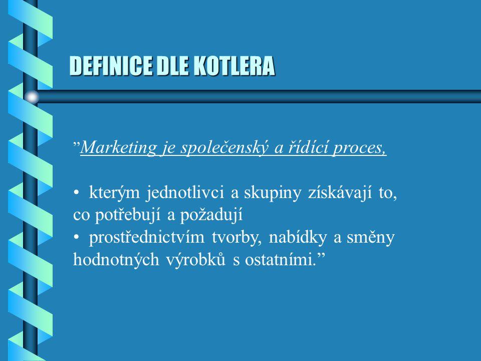 """DEFINICE DLE KOTLERA """" Marketing je společenský a řídící proces, kterým jednotlivci a skupiny získávají to, co potřebují a požadují prostřednictvím tv"""