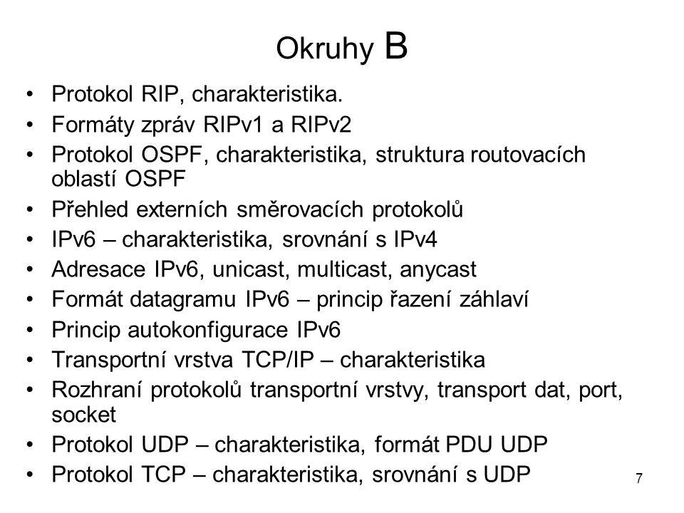 Okruhy B Protokol RIP, charakteristika.