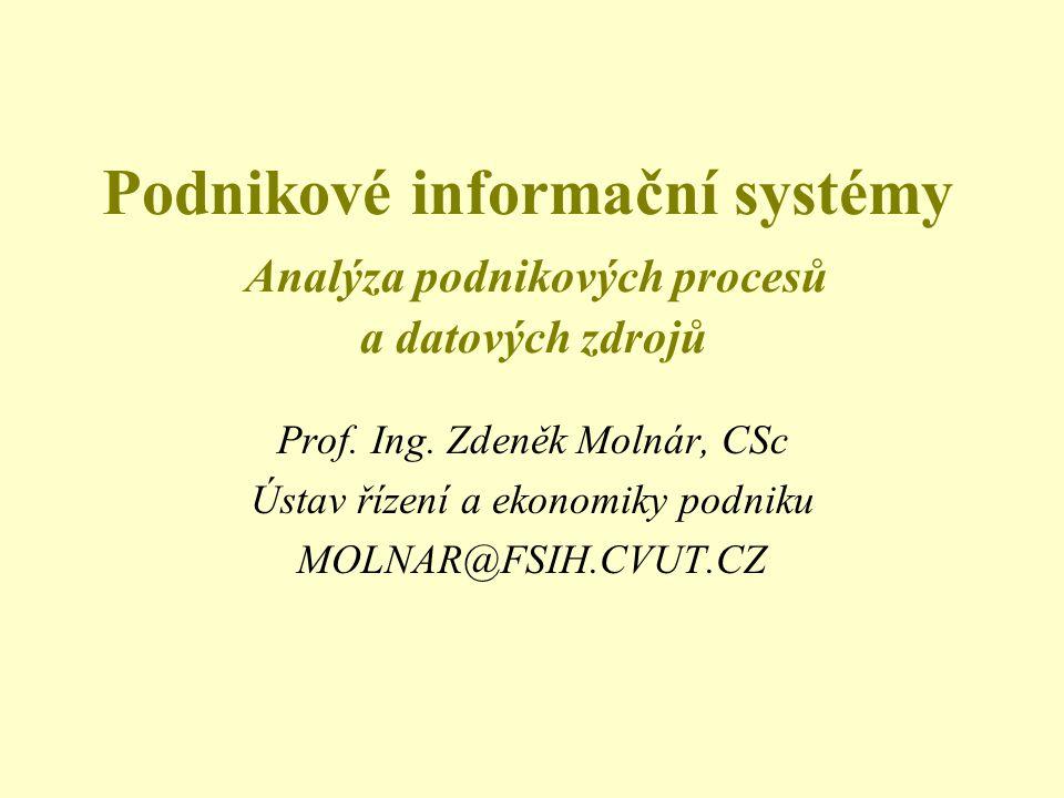 Podnikové informační systémy Analýza podnikových procesů a datových zdrojů Prof.