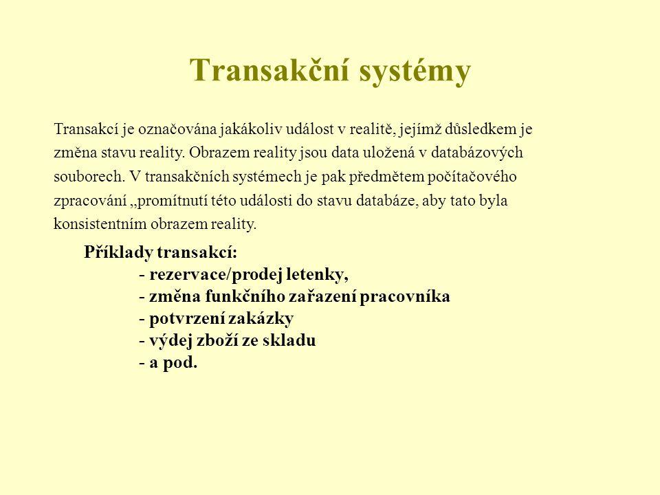 Transakcí je označována jakákoliv událost v realitě, jejímž důsledkem je změna stavu reality.