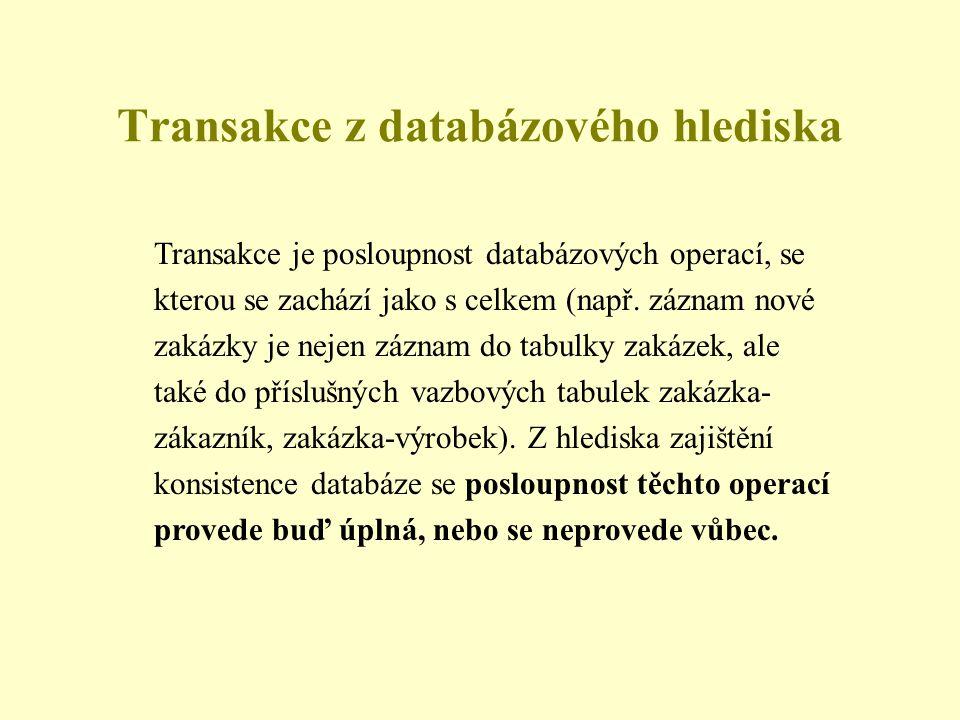 Transakce z databázového hlediska Transakce je posloupnost databázových operací, se kterou se zachází jako s celkem (např.