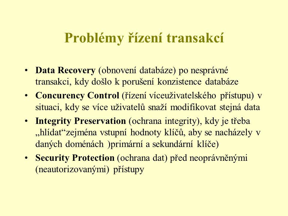 """Problémy řízení transakcí Data Recovery (obnovení databáze) po nesprávné transakci, kdy došlo k porušení konzistence databáze Concurency Control (řízení víceuživatelského přístupu) v situaci, kdy se více uživatelů snaží modifikovat stejná data Integrity Preservation (ochrana integrity), kdy je třeba """"hlídat zejména vstupní hodnoty klíčů, aby se nacházely v daných doménách )primární a sekundární klíče) Security Protection (ochrana dat) před neoprávněnými (neautorizovanými) přístupy"""
