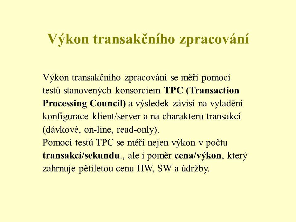 Výkon transakčního zpracování Výkon transakčního zpracování se měří pomocí testů stanovených konsorciem TPC (Transaction Processing Council) a výsledek závisí na vyladění konfigurace klient/server a na charakteru transakcí (dávkové, on-line, read-only).