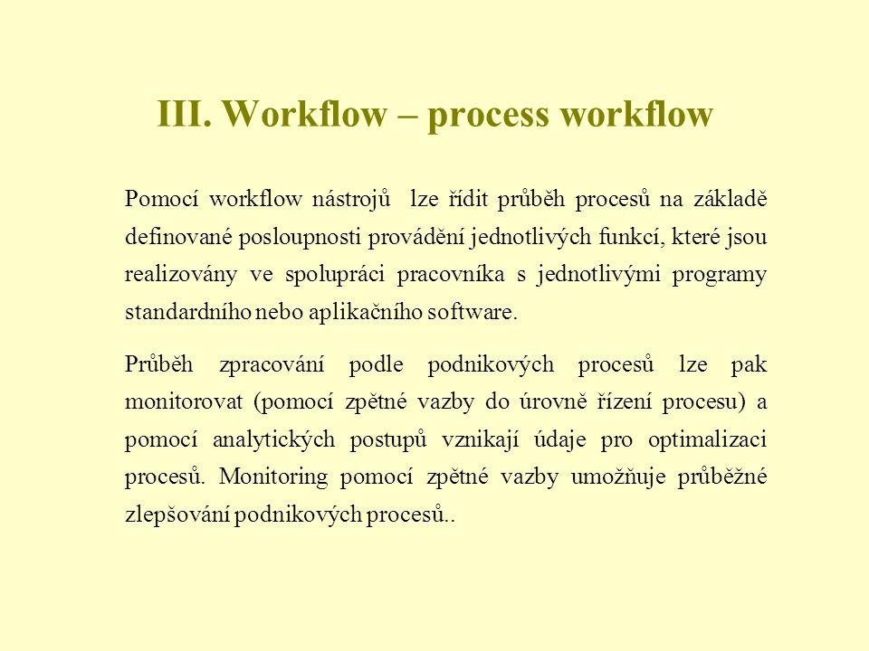 Pomocí workflow nástrojů lze řídit průběh procesů na základě definované posloupnosti provádění jednotlivých funkcí, které jsou realizovány ve spolupráci pracovníka s jednotlivými programy standardního nebo aplikačního software.