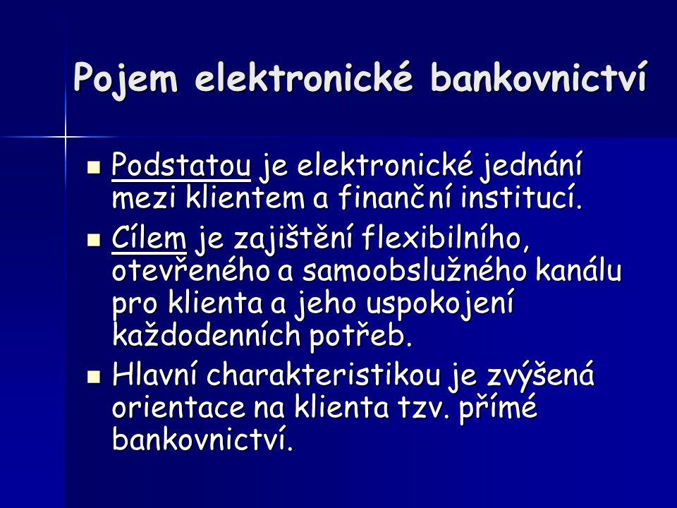 Pojem elektronické bankovnictví Podstatou je elektronické jednání mezi klientem a finanční institucí.