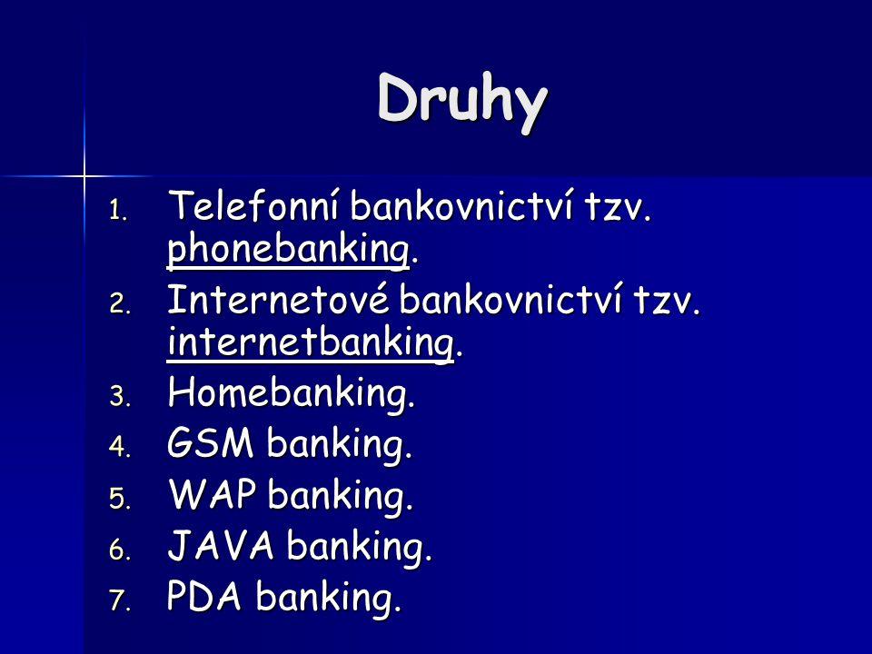 Druhy 1. T elefonní bankovnictví tzv. phonebanking.
