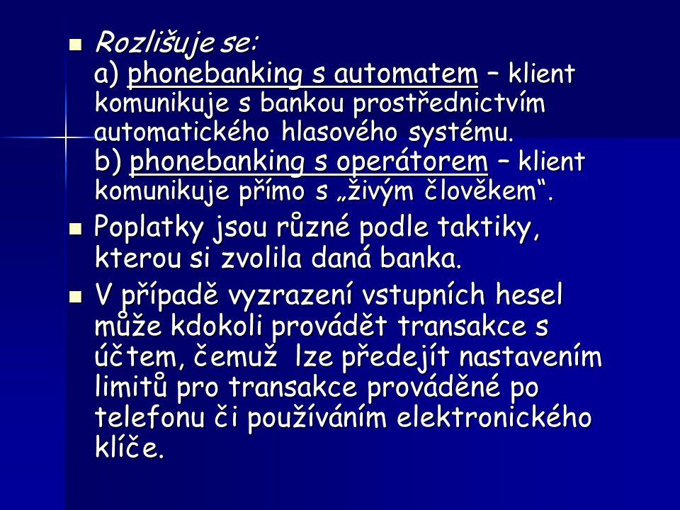 Schéma menu Expresní linky Komerční banky