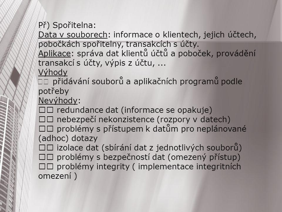 Př) Spořitelna: Data v souborech: informace o klientech, jejich účtech, pobočkách spořitelny, transakcích s účty. Aplikace: správa dat klientů účtů a