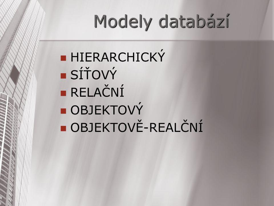 Modely databází HIERARCHICKÝ SÍŤOVÝ RELAČNÍ OBJEKTOVÝ OBJEKTOVĚ-REALČNÍ