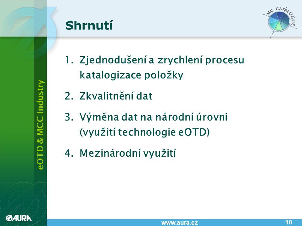 eOTD & MCC Industry www.aura.cz 10 1.Zjednodušení a zrychlení procesu katalogizace položky 2.Zkvalitnění dat 3.Výměna dat na národní úrovni (využití t