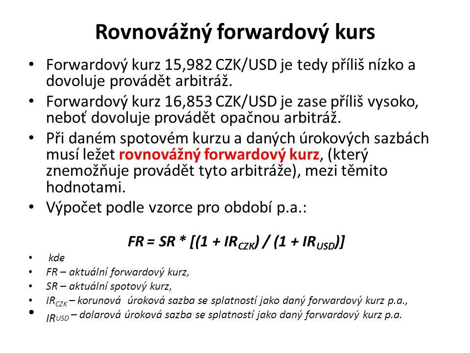 Rovnovážný forwardový kurs Forwardový kurz 15,982 CZK/USD je tedy příliš nízko a dovoluje provádět arbitráž.