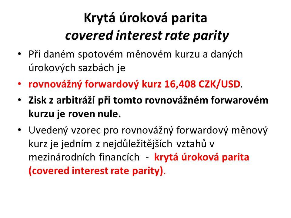 Krytá úroková parita covered interest rate parity Při daném spotovém měnovém kurzu a daných úrokových sazbách je rovnovážný forwardový kurz 16,408 CZK/USD.