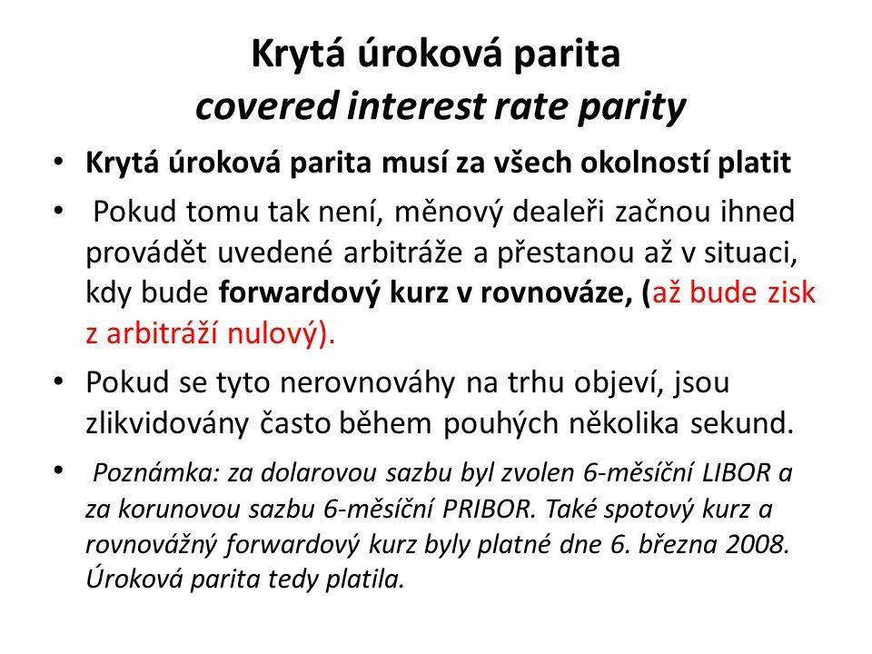 Krytá úroková parita covered interest rate parity Krytá úroková parita musí za všech okolností platit Pokud tomu tak není, měnový dealeři začnou ihned provádět uvedené arbitráže a přestanou až v situaci, kdy bude forwardový kurz v rovnováze, (až bude zisk z arbitráží nulový).