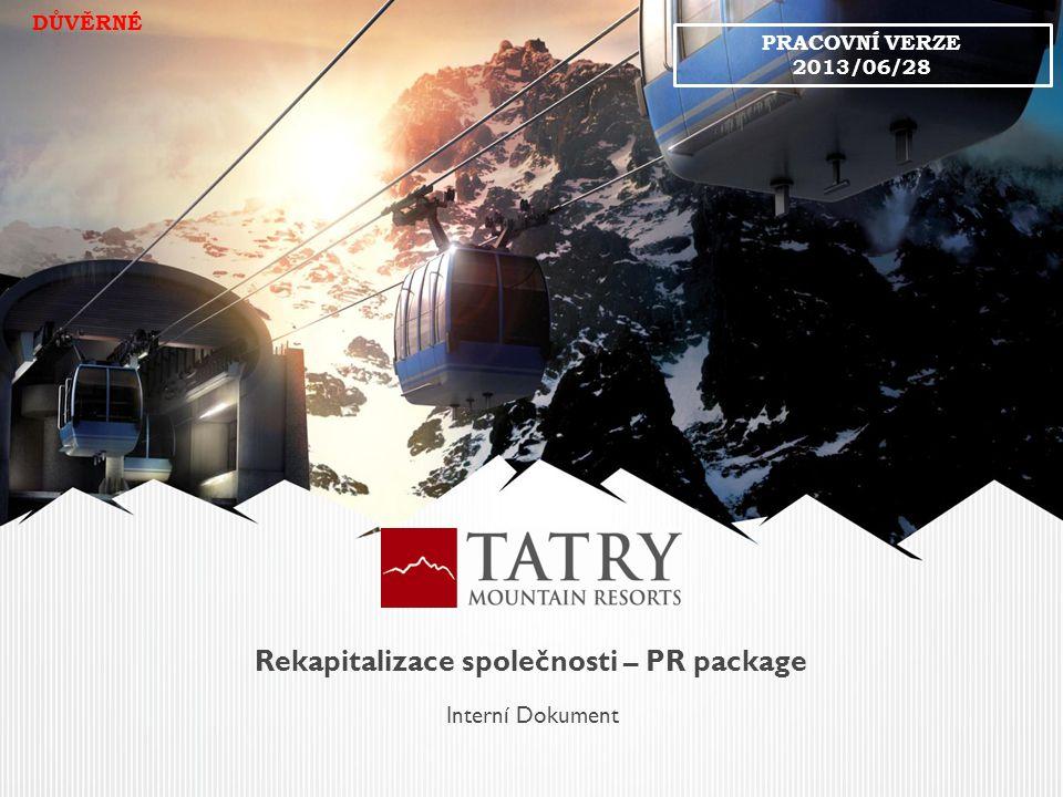 Rekapitalizace společnosti – PR package Interní Dokument DŮVĚRNÉ PRACOVNÍ VERZE 2013/06/28