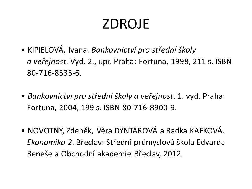 ZDROJE KIPIELOVÁ, Ivana. Bankovnictví pro střední školy a veřejnost.
