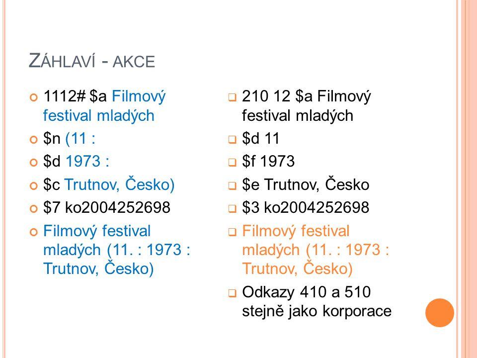 Z ÁHLAVÍ - AKCE 1112# $a Filmový festival mladých $n (11 : $d 1973 : $c Trutnov, Česko) $7 ko2004252698 Filmový festival mladých (11. : 1973 : Trutnov