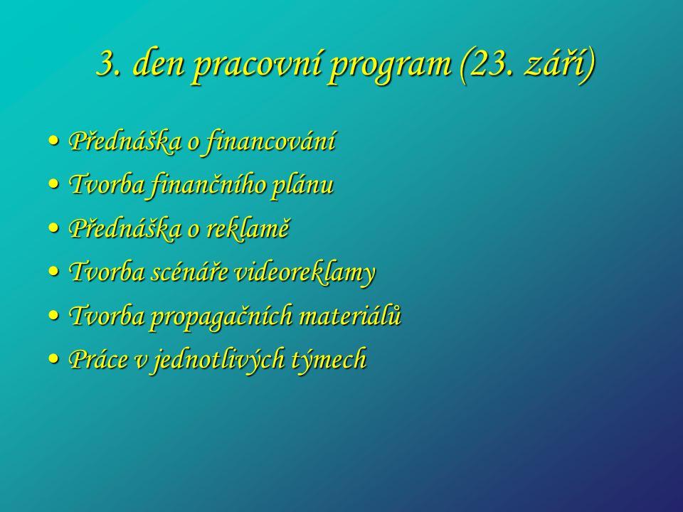 3. den pracovní program (23. září) Přednáška o financováníPřednáška o financování Tvorba finančního plánuTvorba finančního plánu Přednáška o reklaměPř