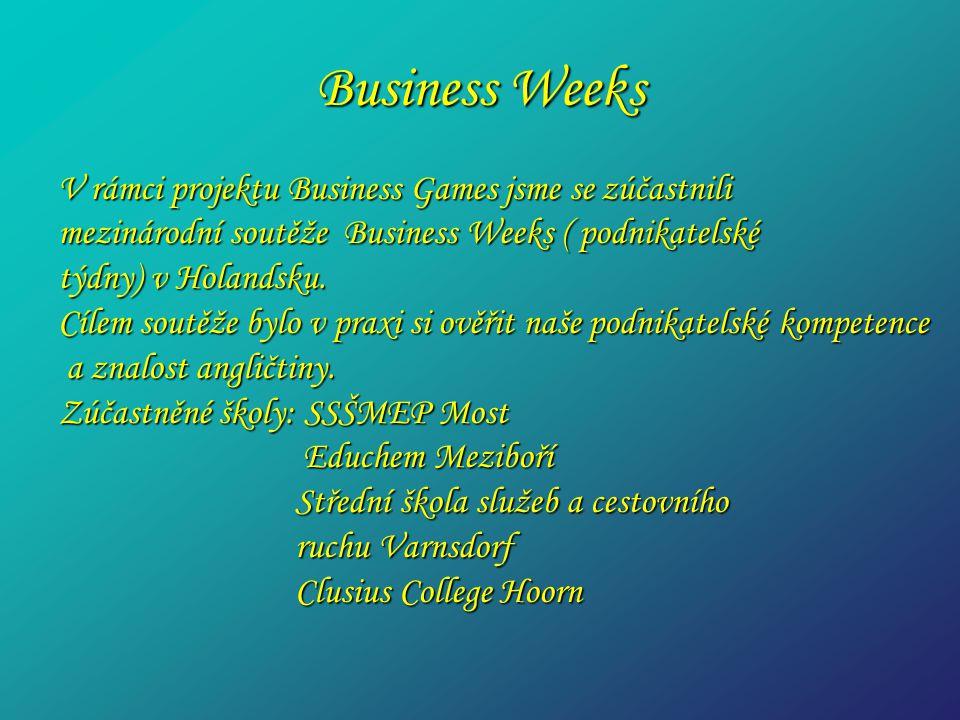 Business Weeks V rámci projektu Business Games jsme se zúčastnili mezinárodní soutěže Business Weeks ( podnikatelské týdny) v Holandsku. Cílem soutěže