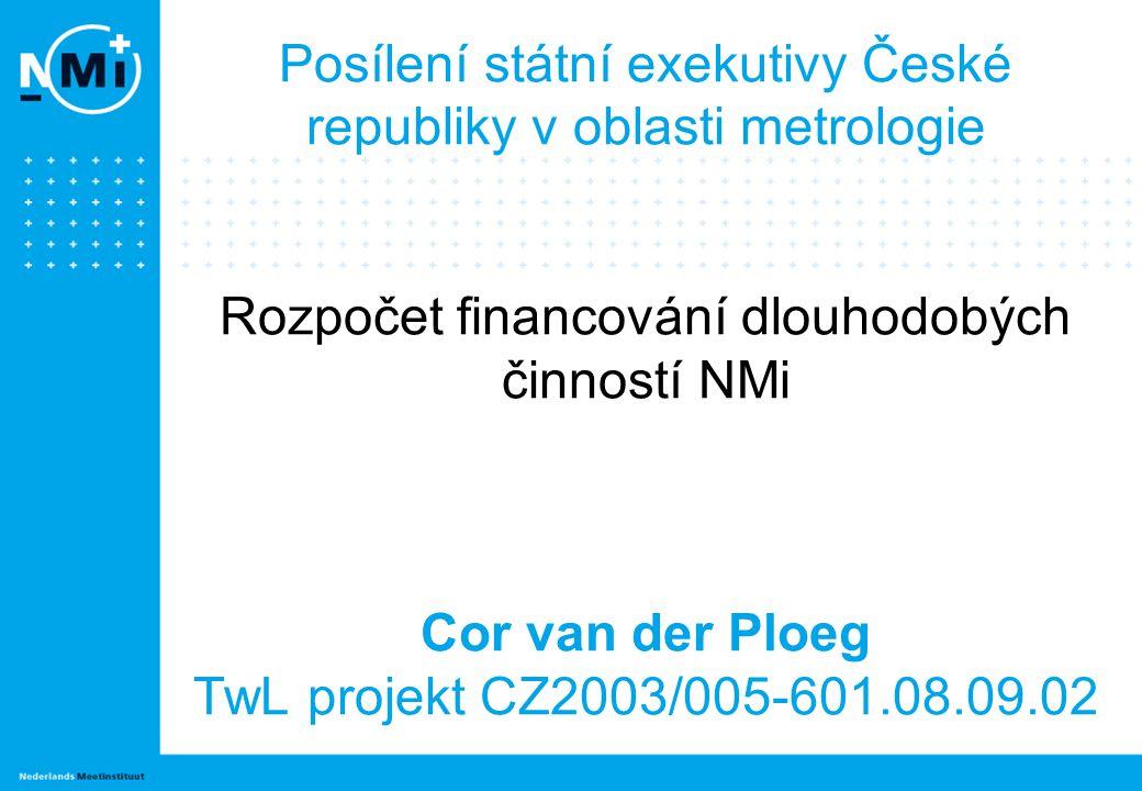 Posílení státní exekutivy České republiky v oblasti metrologie Rozpočet financování dlouhodobých činností NMi Cor van der Ploeg TwL projekt CZ2003/005-601.08.09.02