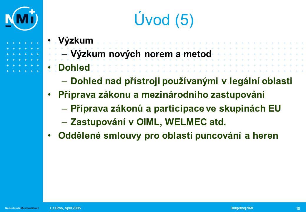 Cz Brno, April 2005Butgeting NMi 18 Úvod (5) Výzkum –Výzkum nových norem a metod Dohled –Dohled nad přístroji používanými v legální oblasti Příprava zákonu a mezinárodního zastupování –Příprava zákonů a participace ve skupinách EU –Zastupování v OIML, WELMEC atd.