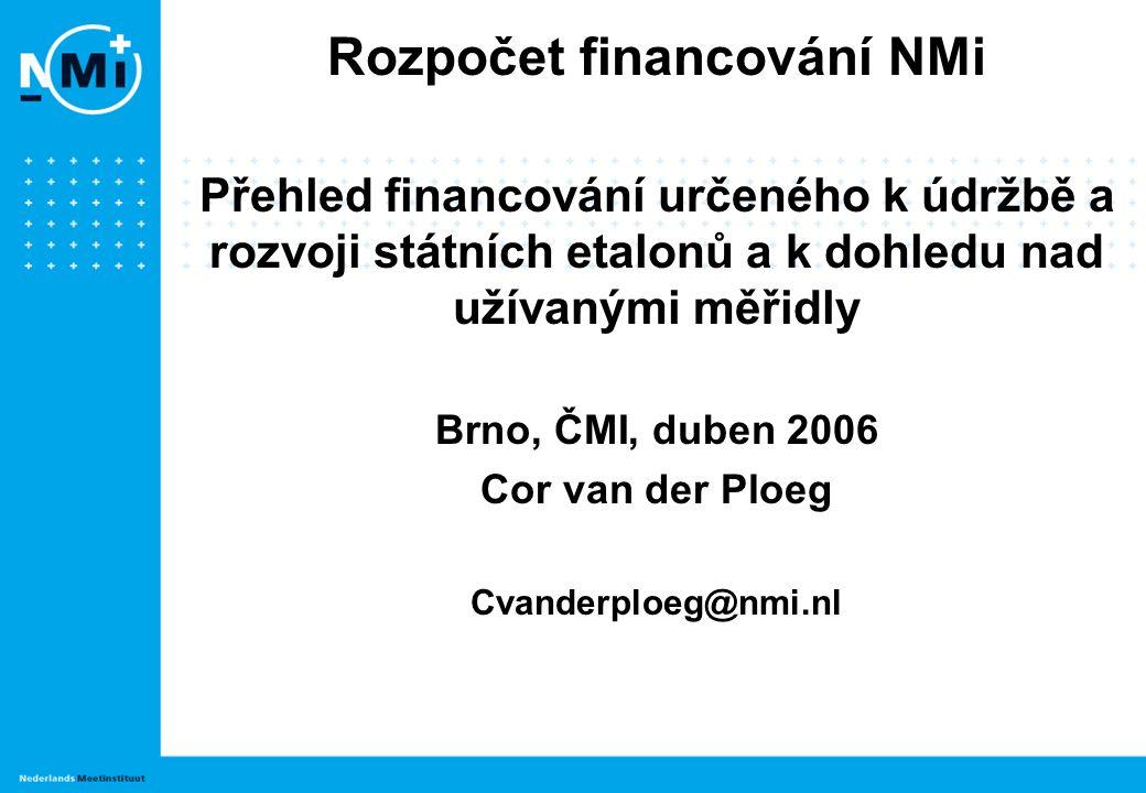 Rozpočet financování NMi Přehled financování určeného k údržbě a rozvoji státních etalonů a k dohledu nad užívanými měřidly Brno, ČMI, duben 2006 Cor van der Ploeg Cvanderploeg@nmi.nl