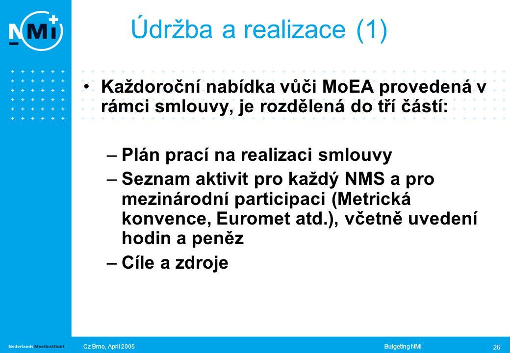 Cz Brno, April 2005Butgeting NMi 26 Údržba a realizace (1) Každoroční nabídka vůči MoEA provedená v rámci smlouvy, je rozdělená do tří částí: –Plán prací na realizaci smlouvy –Seznam aktivit pro každý NMS a pro mezinárodní participaci (Metrická konvence, Euromet atd.), včetně uvedení hodin a peněz –Cíle a zdroje