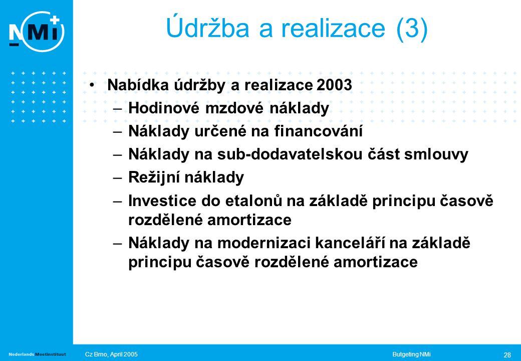 Cz Brno, April 2005Butgeting NMi 28 Nabídka údržby a realizace 2003 –Hodinové mzdové náklady –Náklady určené na financování –Náklady na sub-dodavatelskou část smlouvy –Režijní náklady –Investice do etalonů na základě principu časově rozdělené amortizace –Náklady na modernizaci kanceláří na základě principu časově rozdělené amortizace Údržba a realizace (3)