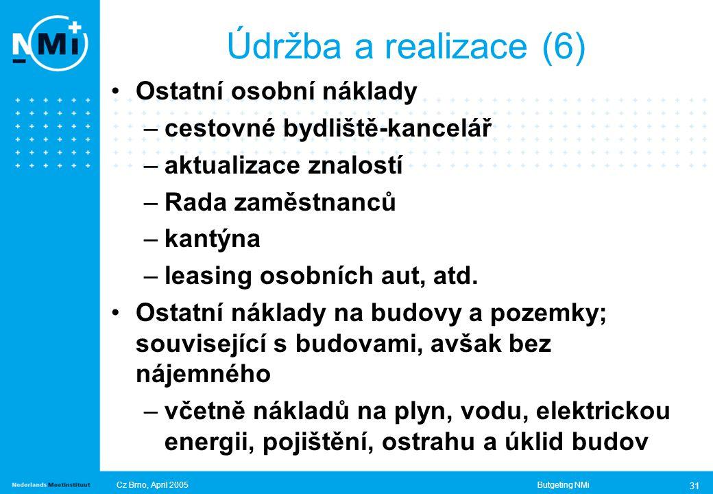 Cz Brno, April 2005Butgeting NMi 31 Ostatní osobní náklady –cestovné bydliště-kancelář –aktualizace znalostí –Rada zaměstnanců –kantýna –leasing osobních aut, atd.