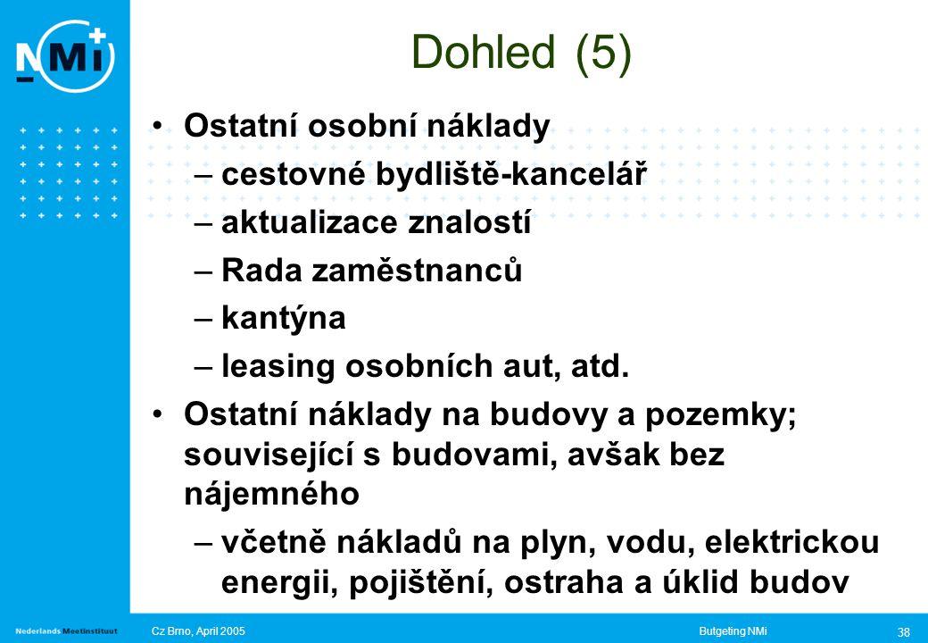 Cz Brno, April 2005Butgeting NMi 38 Dohled (5) Ostatní osobní náklady –cestovné bydliště-kancelář –aktualizace znalostí –Rada zaměstnanců –kantýna –leasing osobních aut, atd.