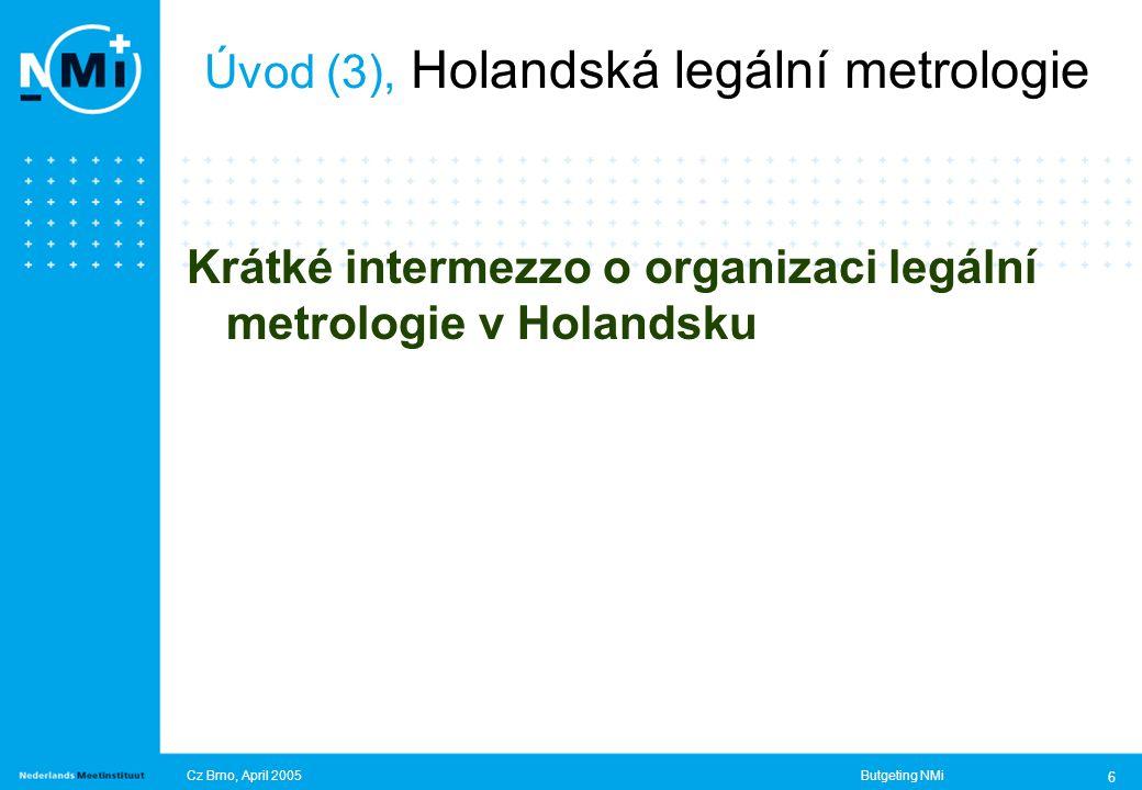 Cz Brno, April 2005Butgeting NMi 6 Úvod (3), Holandská legální metrologie Krátké intermezzo o organizaci legální metrologie v Holandsku