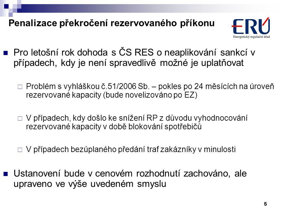 5 Penalizace překročení rezervovaného příkonu Pro letošní rok dohoda s ČS RES o neaplikování sankcí v případech, kdy je není spravedlivě možné je uplatňovat  Problém s vyhláškou č.51/2006 Sb.