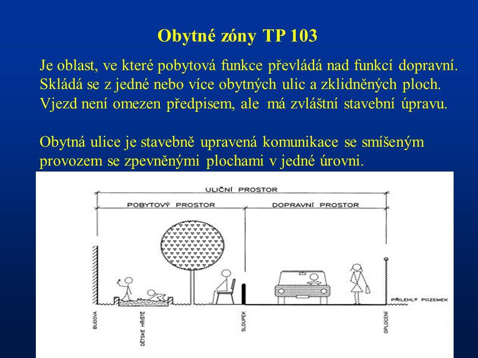 Obytné zóny TP 103 Je oblast, ve které pobytová funkce převládá nad funkcí dopravní.