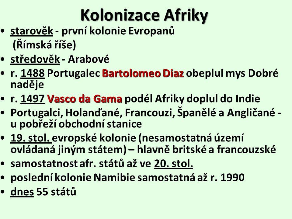 Kolonizace Afriky starověk - první kolonie Evropanů Římská říše (Římská říše) Arabovéstředověk - Arabové BartolomeoDiazr.