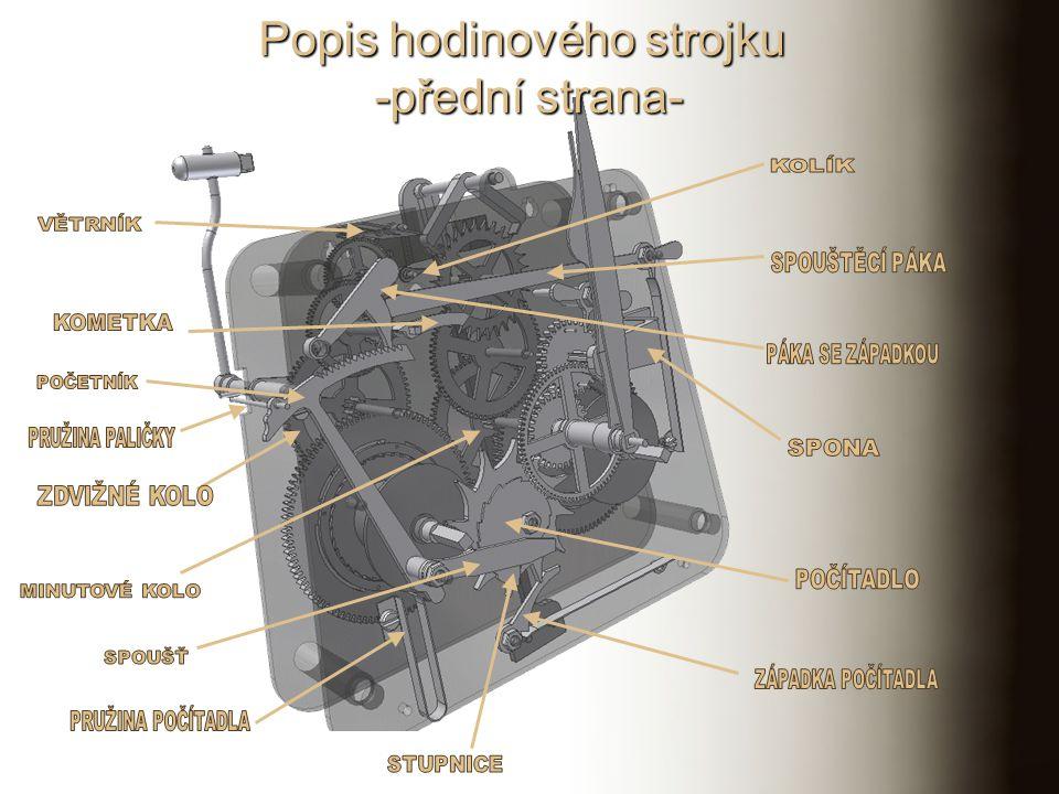Skupinové schéma mechanických hodin OscilátorHlavní soukolíKrok Řízení ruček Ručkové soukolí Hnací ústrojí Natahovací ústrojí ZávažovéPérové