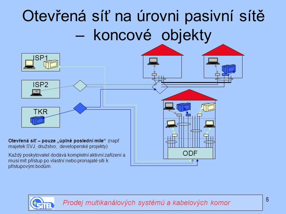 """5 ISP1 Otevřená síť na úrovni pasivní sítě – koncové objekty Prodej multikanálových systémů a kabelových komor ODF ISP2 TKR Otevřená síť – pouze """"úpln"""