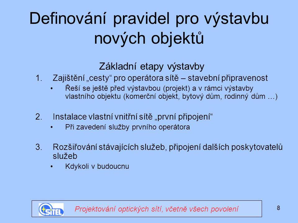"""8 Definování pravidel pro výstavbu nových objektů Základní etapy výstavby 1.Zajištění """"cesty pro operátora sítě – stavební připravenost Řeší se ještě před výstavbou (projekt) a v rámci výstavby vlastního objektu (komerční objekt, bytový dům, rodinný dům …) 2.Instalace vlastní vnitřní sítě """"první připojení Při zavedení služby prvního operátora 3.Rozšiřování stávajících služeb, připojení dalších poskytovatelů služeb Kdykoli v budoucnu Projektování optických sítí, včetně všech povolení"""