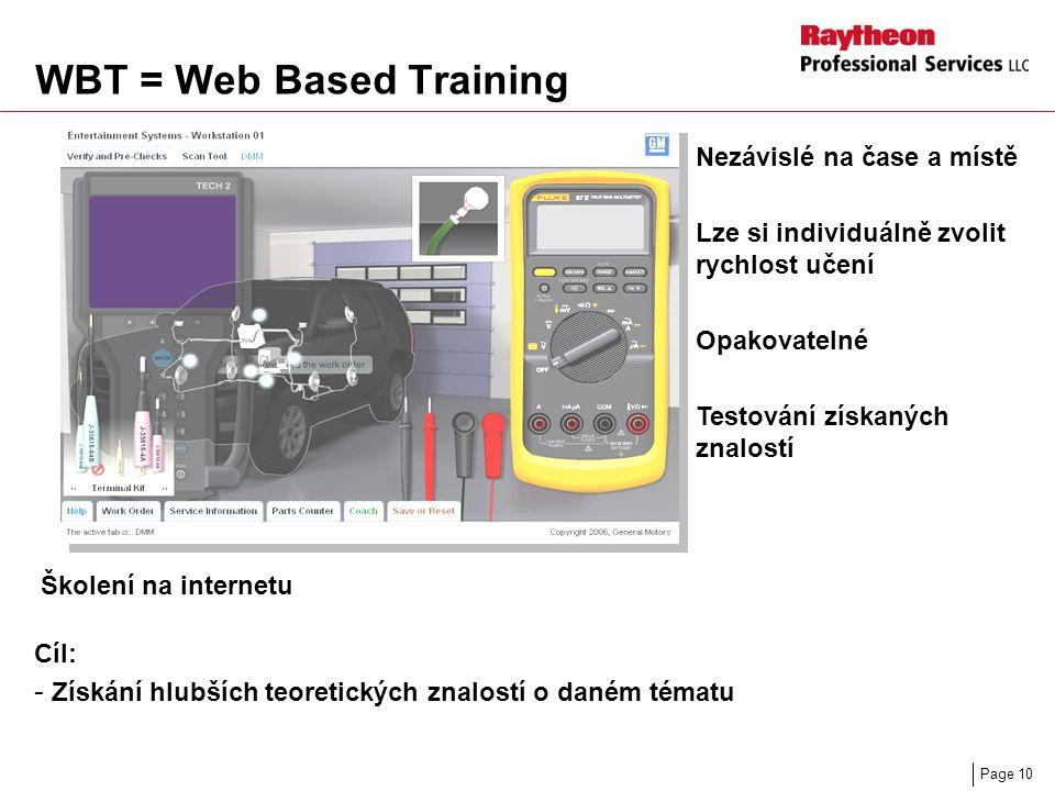 Page 10 WBT = Web Based Training Školení na internetu Cíl: - Získání hlubších teoretických znalostí o daném tématu Nezávislé na čase a místě Lze si individuálně zvolit rychlost učení Opakovatelné Testování získaných znalostí