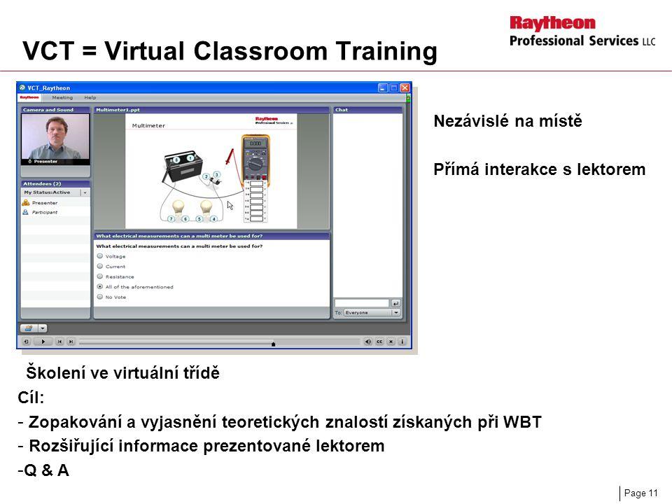 Page 11 VCT = Virtual Classroom Training Školení ve virtuální třídě Cíl: - Zopakování a vyjasnění teoretických znalostí získaných při WBT - Rozšiřující informace prezentované lektorem - Q & A Nezávislé na místě Přímá interakce s lektorem