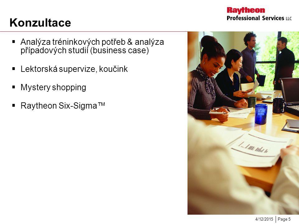 Page 54/12/2015 Konzultace  Analýza tréninkových potřeb & analýza případových studií (business case)  Lektorská supervize, koučink  Mystery shopping  Raytheon Six-Sigma™