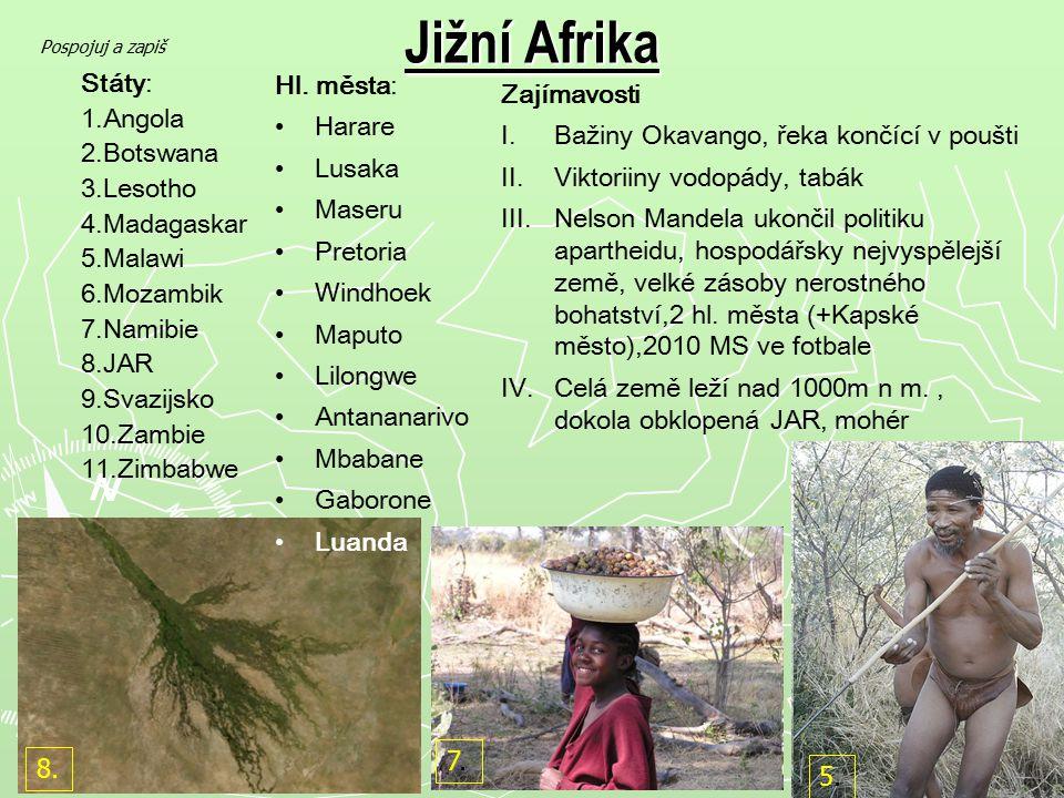 Jižní Afrika Státy: 1.Angola 2.Botswana 3.Lesotho 4.Madagaskar 5.Malawi 6.Mozambik 7.Namibie 8.JAR 9.Svazijsko 10.Zambie 11.Zimbabwe Hl. města: Harare
