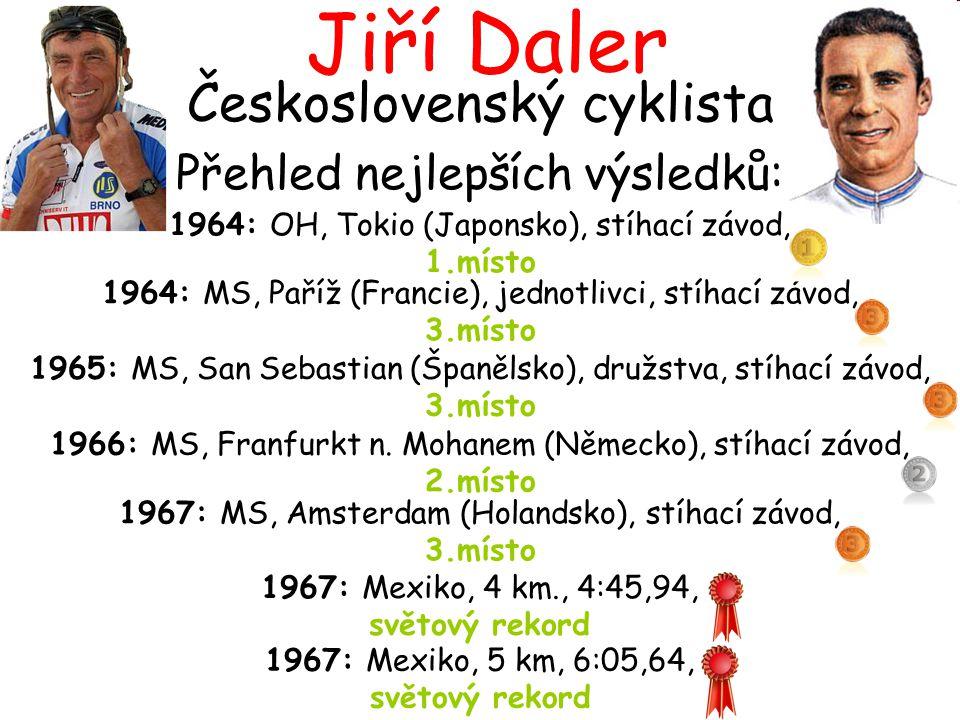 Československý cyklista Přehled nejlepších výsledků: 1967: Mexiko, 5 km, 6:05,64, světový rekord 1964: OH, Tokio (Japonsko), stíhací závod, 1.místo 19