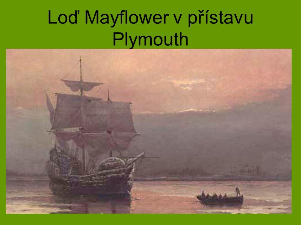 Loď Mayflower v přístavu Plymouth