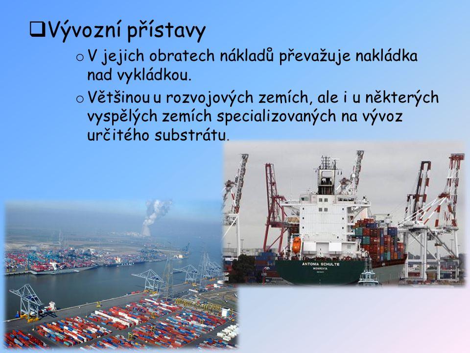  Vývozní přístavy o V jejich obratech nákladů převažuje nakládka nad vykládkou. o Většinou u rozvojových zemích, ale i u některých vyspělých zemích s