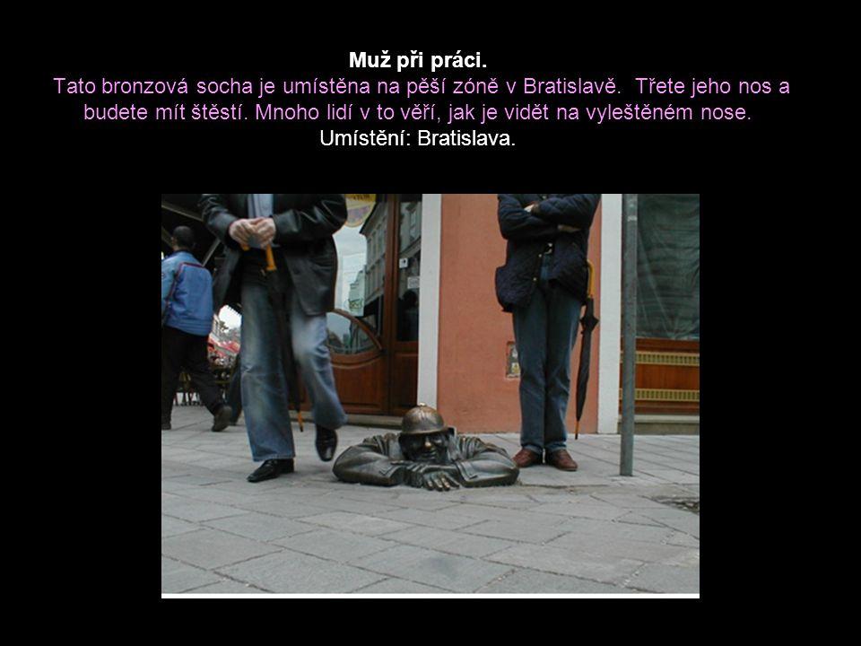 Muž při práci.Tato bronzová socha je umístěna na pěší zóně v Bratislavě.