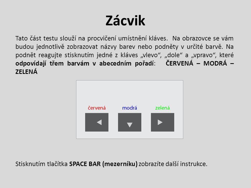 Zácvik Tato část testu slouží na procvičení umístnění kláves. Na obrazovce se vám budou jednotlivě zobrazovat názvy barev nebo podněty v určité barvě.
